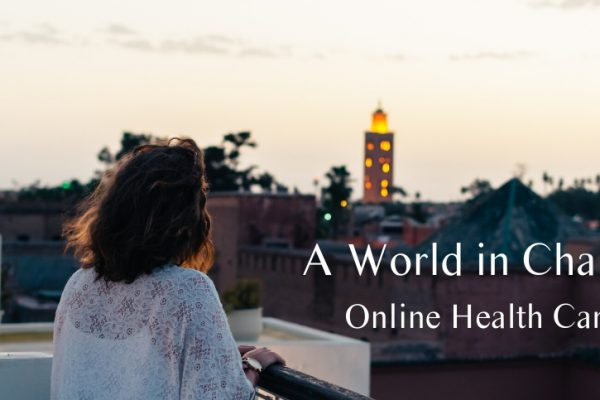 Connectable Life. Woman looking out over the city. A World in Change: Is Online Health Care and Telehealth becoming the new normal?